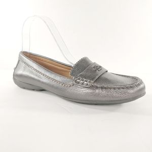 Coach Odette Pewter Metallic Leather Loafers Sz 9